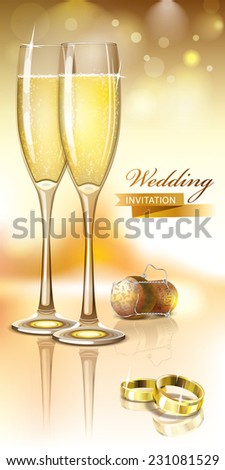 Vector wedding invitation card with rings, pair of wineglasses of Sparkling Wine and cork - stock vector