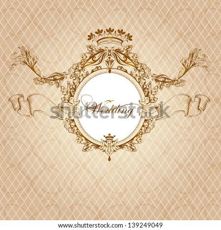 Vector  wedding invitation design in classic royal style - stock vector