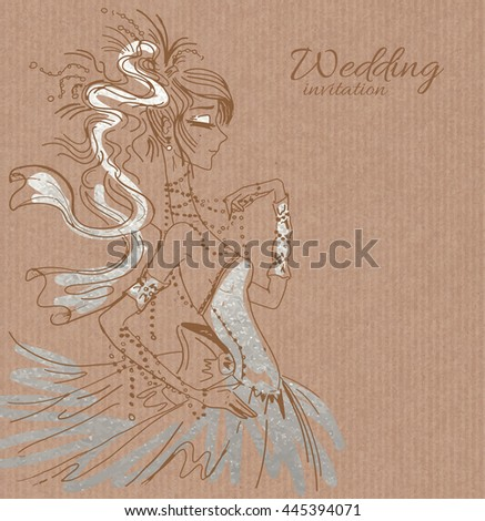 Vector wedding invitation template, hand drawn beautiful bride in gorgeous silver dress on brown paper background - stock vector