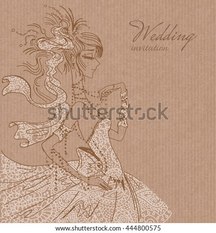 Vector wedding invitation template, hand drawn beautiful bride in gorgeous white lace dress on brown paper background - stock vector