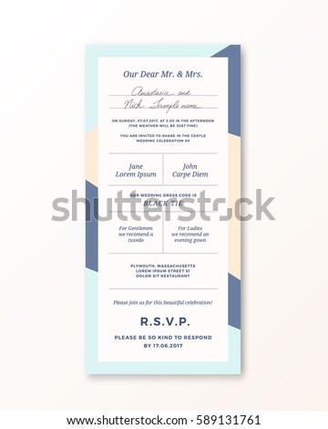 Vector wedding invitation template modern typography stock vector vector wedding invitation template modern typography and pastel beige blue colors classy design stopboris Gallery