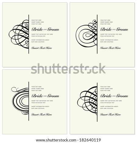 Vector wedding invitation template set with half ornaments. Great for invites, invitations, and announcements.  - stock vector