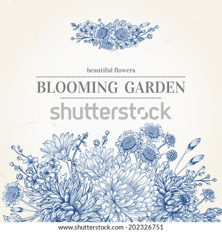 Vector wedding invitation with a bouquet of blue flowers on a beige background. Garden asters, chrysanthemums, daisies. Vector illustration. - stock vector
