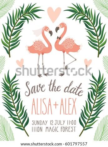 Vector wedding invitation flamingo palm leaves stock photo photo vector wedding invitation with flamingo palm leaves and hand written text save the date stopboris Images