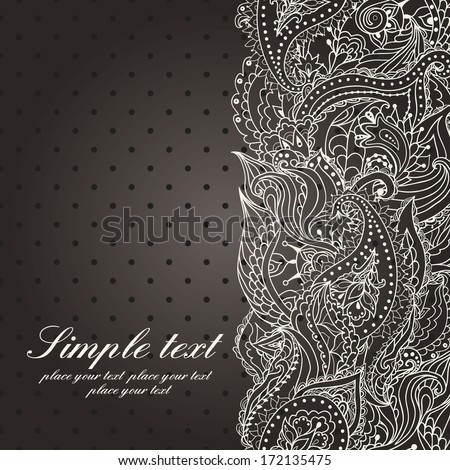 Vector wedding invitation with lace paisley seamless pattern in vintage style. Black and white background. - stock vector