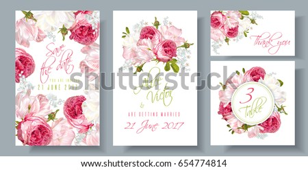 Vector wedding invitations set garden roses stock vector royalty vector wedding invitations set with garden roses and tulip flowers on white background can be stopboris Images