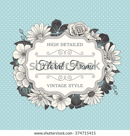 Vector wedding label with a frame composed of detailed green flowers illustrations.