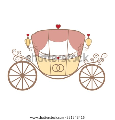 Vector wedding retro carriage with curls and pink curtains and two crossed rings for newlyweds on the white. Element for your wedding designs, wedding business projects, logo, and other your projects - stock vector