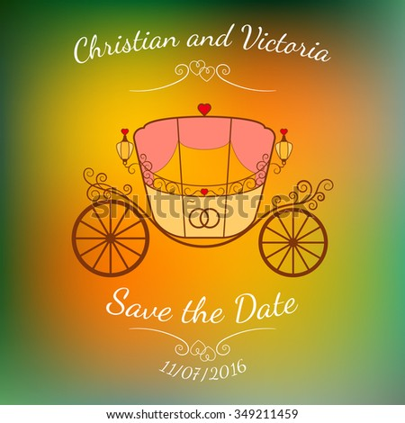 Vector wedding retro carriage with curls and pink curtains over abstract color blurred vector background. Element for wedding designs, website, logo, and other. Greeting card template, Save the Date. - stock vector