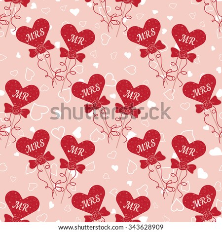 Vector Wedding seamless pattern with hearts MR and MRS on a stick. Element for your wedding designs, valentine s day projects, and other your romantic projects. - stock vector