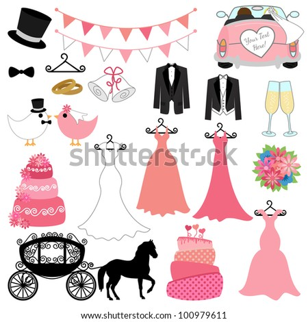 Vector Wedding Set - stock vector