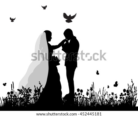 Bride and groom silhouette stock images royalty free images vector wedding silhouette groom and bride in nature junglespirit Choice Image