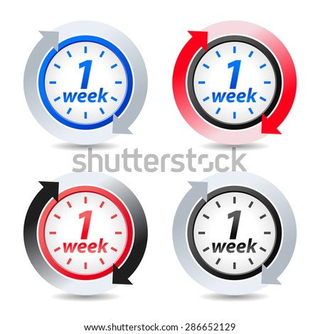 Vector 1 week - stock vector