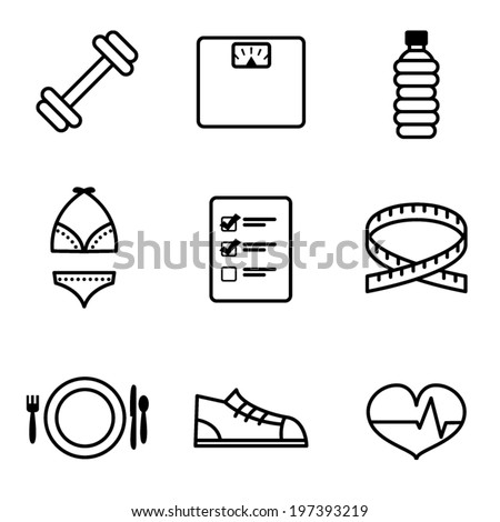 Vector Weight Loss Icons - stock vector