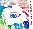 "Vector ""welcome back to school"" on blots background. - stock photo"