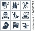 Vector welder and blacksmith icons set - stock vector