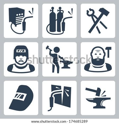 Vector welder and blacksmith icons set - stock vector