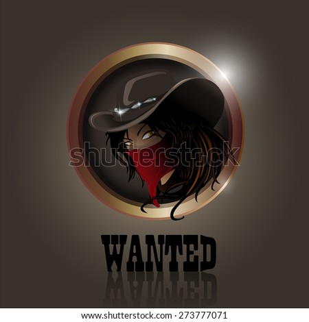 Vector western cowgirl with hat and face mask - stock vector