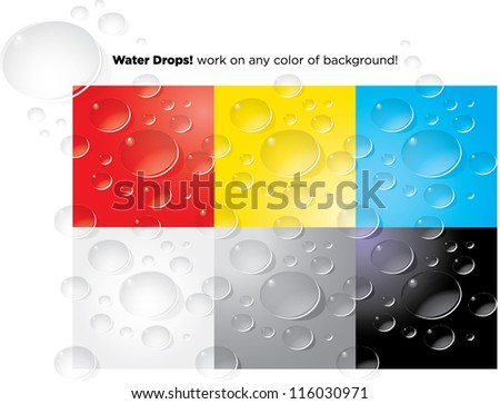 Vector wet water drops work on any color of background! - stock vector