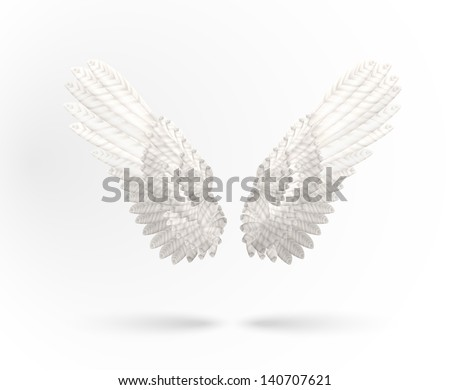 Vector White Angel wings isolated on white background - stock vector