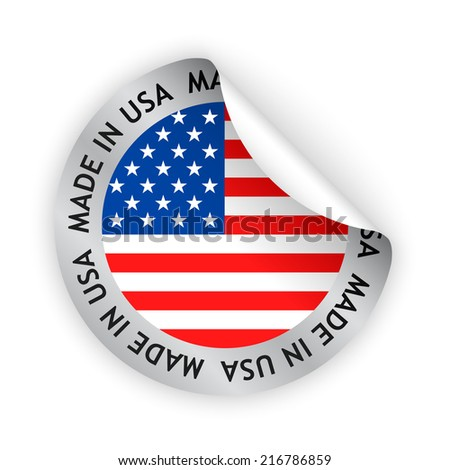 vector white bent sticker with flag of the united states of america and sign made in usa - stock vector