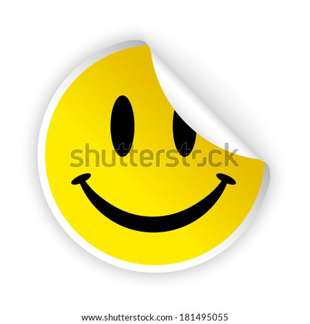vector white bent sticker with smiling face - stock vector