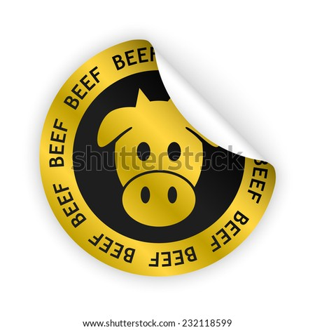 vector white bent sticker with symbol of beef meat