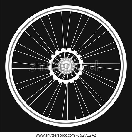 vector white Bicycle wheels isolated on black background. bike wheel Icon. bicycle wheel Icon Vector. bike wheel Icon logo. bike wheel Icon Sign. bicycle wheel Icon Flat. bike wheel Icon design - stock vector