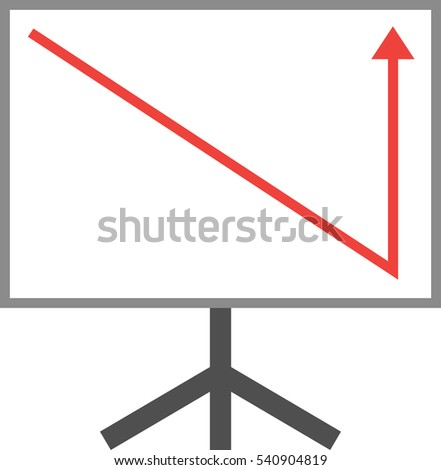 Vector white board with red arrow pointing down and up.