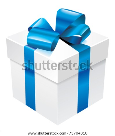 Vector white box with blue silk ribbon and bow - stock vector
