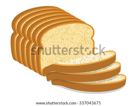 vector white bread slices - stock vector