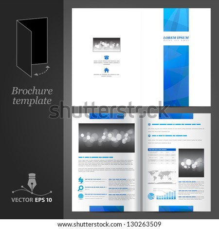 Vector white brochure template design with blue stripe. EPS 10 - stock vector