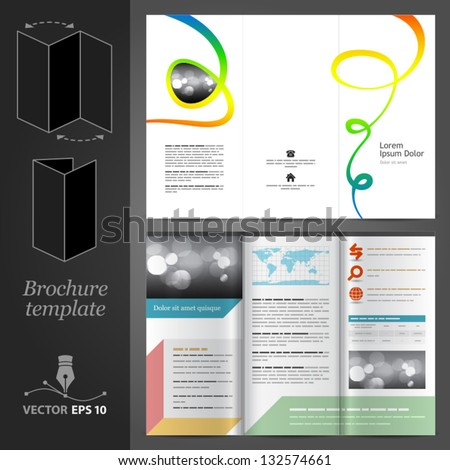 Vector white brochure template design with color art elements. EPS 10 - stock vector