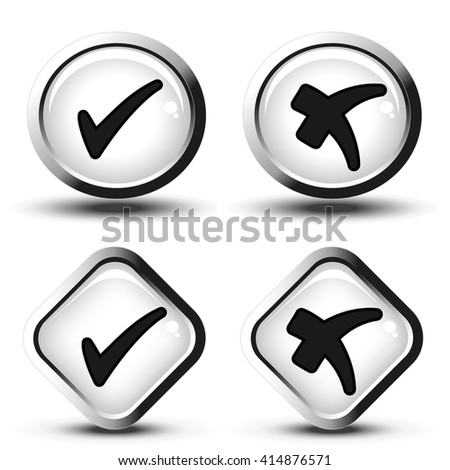 Vector white buttons with black simple check mark symbols, square and circle buttons - stock vector