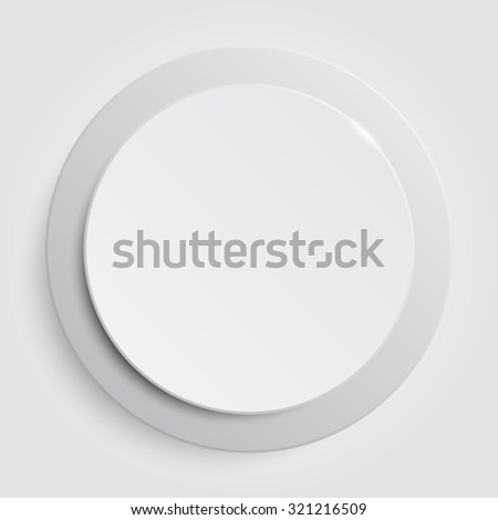 Vector.White circle button on white background. - stock vector