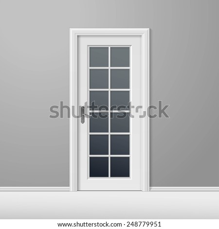 Vector White Closed Door with Frame Isolated on Background - stock vector