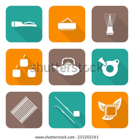 vector white color flat design japan tea ceremony equipment icons collection tools set  - stock vector
