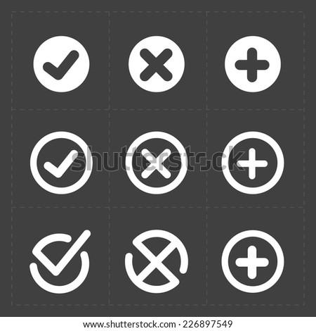Vector white confirm icons set - stock vector
