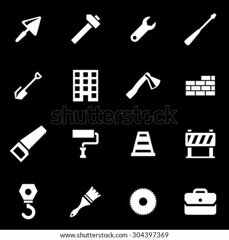 Vector white construction icon set. Construction Icon Object, Construction Icon Picture, Construction Icon Image, Construction Icon Graphic - stock vector - stock vector