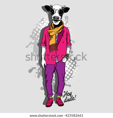 Vector white cow in a glasses, pink jacket and trousers. Bull in clothes. Hand drawn illustration of dressed buffalo.  - stock vector