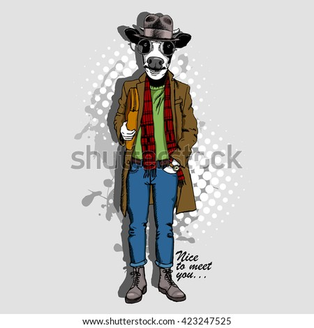 Vector white cow in a hat. Hand drawn illustration  of dressed buffalo.  - stock vector