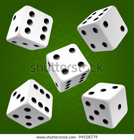 Vector white dice set on green background of cards colour - stock vector