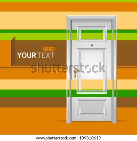Vector white door in the wall for text