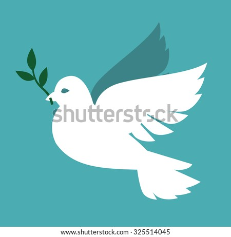 vector white Dove icon on gray background - stock vector