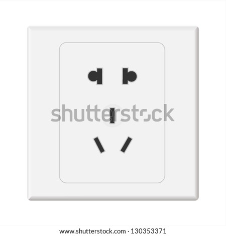 Vector White Electric Wall Outlet Receptacle - stock vector