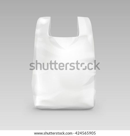 Vector White Empty Disposable Plastic Shopping Bag with Handles Close up Isolated on Background - stock vector