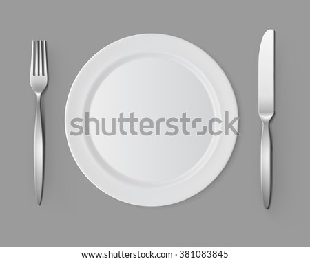 Vector White Empty Flat Round Plate with Fork and Knife Top View Isolated on Background. Table Setting - stock vector