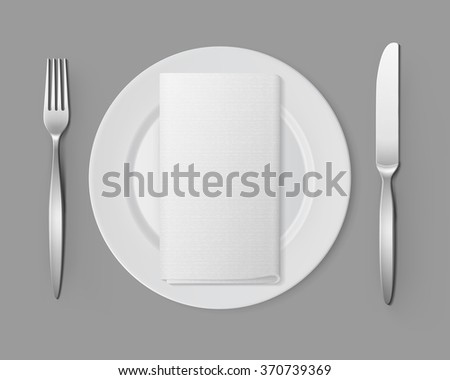 Vector White Empty Flat Round Plate with Silver Fork and Knife and White Folded Rectangular Napkin Top View Isolated on Background. Table Setting - stock vector
