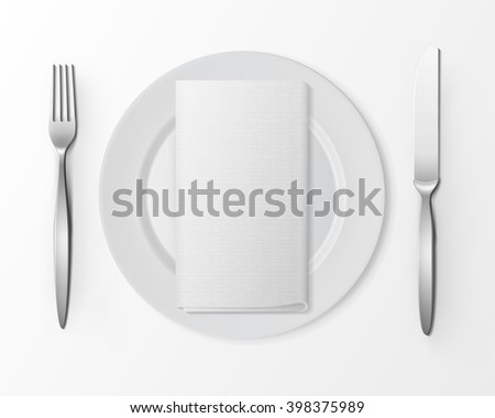Vector White Empty Flat Round Plate with Silver Fork and Knife and White Folded Rectangular Napkin Top View Isolated on White Background. Table Setting - stock vector