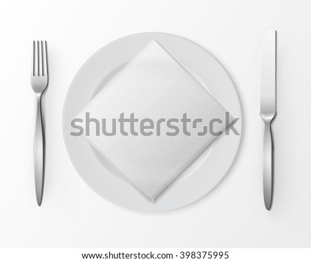 Vector White Empty Flat Round Plate with Silver Fork and Knife and White Folded Square Napkin Top View Isolated on White Background. Table Setting - stock vector